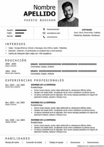 Plantilla Curriculum Vitae minimalista sin color