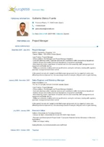 Curriculum Vitae Europass en inglés